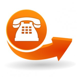 tlphone fixe sur bouton web orange