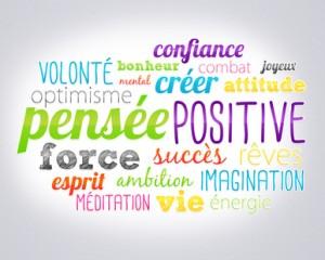 nuage de mots : pense positive, énergie, fatigue, stress