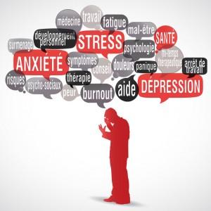 nuage de mots bulles silhouette : Stress burnout comment rebondir anxiété manque de sommeil