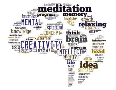 mots creativité meditation relaxation sur carte blanche