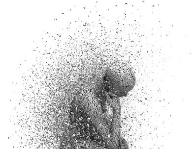 Concept de tristesse et de solitude. Désespéré, a souligné l'illustration 3D